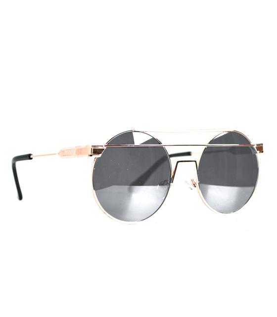 Στρόγγυλα γυαλιά ηλίου με σύρμα στο πάνω μέρος (Ασημί - Χάλκινα)