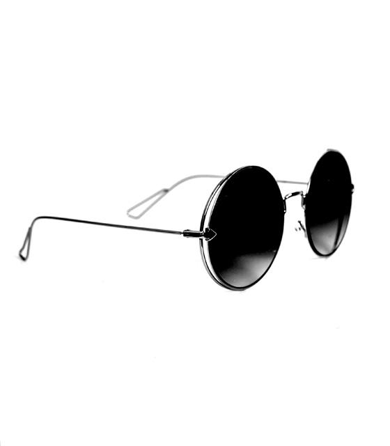 Στρόγγυλα γυαλιά ηλίου μαύρα
