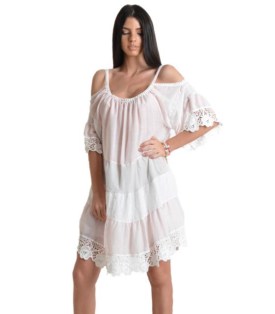 Φόρεμα με τιράντα και λεπτομέρεια κέντημα (Ροζ)