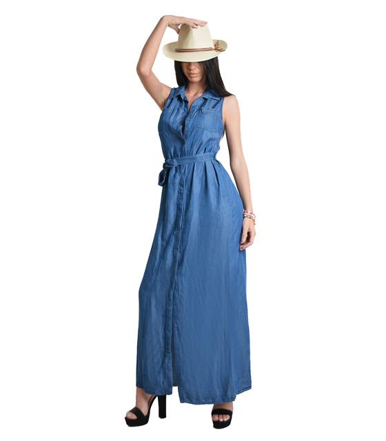 Μάξι τζιν φόρεμα με ζώνη,τσέπες και κουμπιά (Σκούρο Μπλε)
