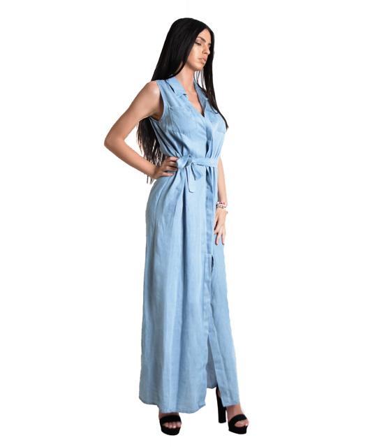 Μάξι τζιν φόρεμα με ζώνη,τσέπες και κουμπιά (Ανοιχτό Μπλε)