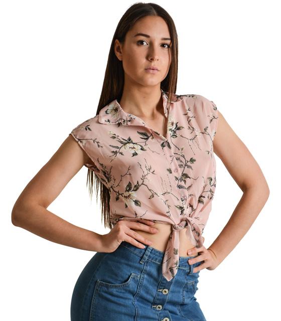Αμάνικο πουκάμισο φλοράλ με δέσιμο στην μέση (Ροζ)