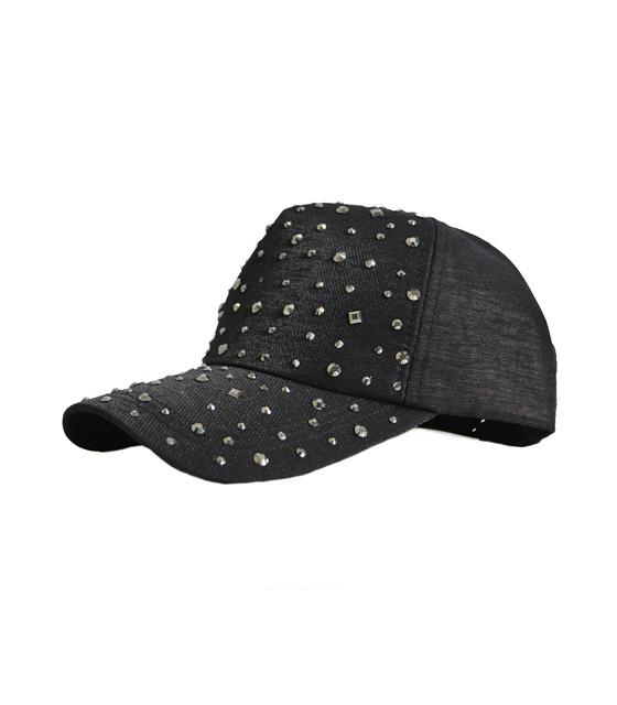 Καπέλο μαύρο με λεπτομέρεια στρας αξεσουάρ   καπέλα σκουφάκια