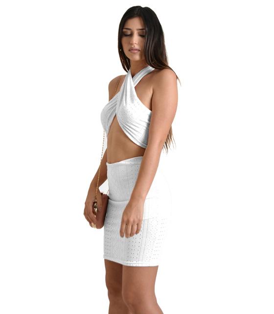 Σετ τοπ - φούστα (Λευκό) ρούχα   μπλούζες   top   τοπάκια   μπουστάκια