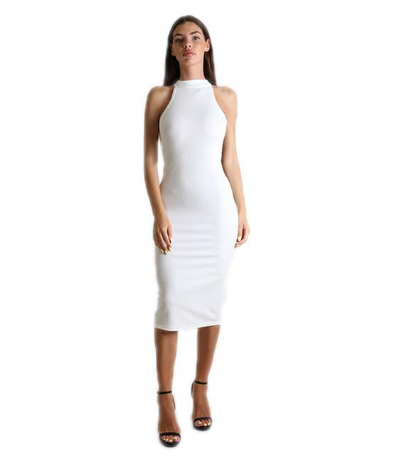 Midi αμάνικο εφαρμοστό φόρεμα Λευκό
