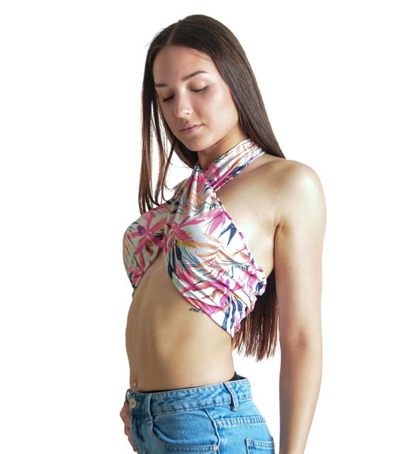 Τοπ χιαστή στο στήθος με φούξ κλαδιά ρούχα   μπλούζες   top   τοπάκια   μπουστάκια