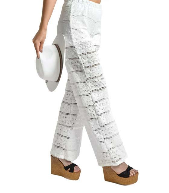 Ψηλόμεση παντελόνα κέντημα με εσωτερικό σορτς (Λευκή)