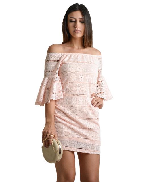 Μίνι φόρεμα κέντημα με μανίκια βολάν (Ροζ)