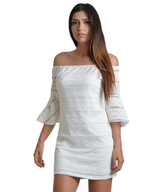 Μίνι φόρεμα κέντημα με μανίκια βολάν (Λευκό)