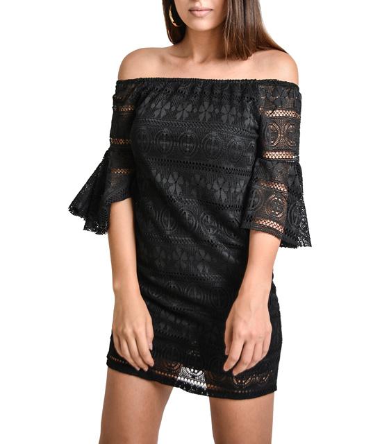 Μίνι φόρεμα κέντημα με μανίκια βολάν (Μαύρο)