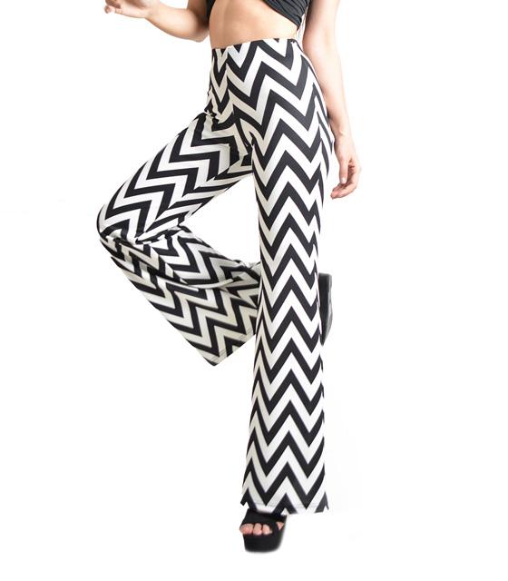 Ελαστική παντελόνα καμπάνα ασπρόμαυρη