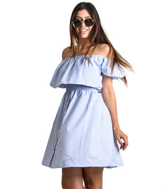 Μπλε φόρεμα ριγέ με βολάν, σούρα και κουμπιά