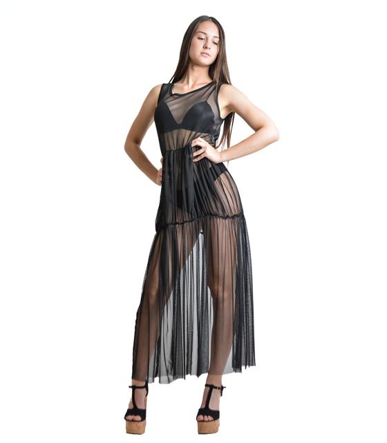 Διάφανο μάξι φόρεμα (Μαύρο)