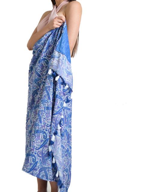 Μπλε πετσέτα - παρεό με μοτίβα
