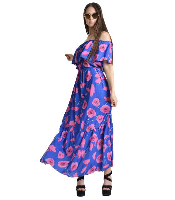 Bardot φόρεμα φλοράλ με ζώνη (Μωβ)