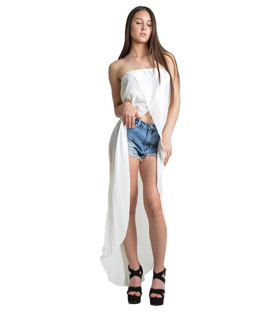 Bardot μπλούζα με ουρά (Λευκή) ρούχα   μπλούζες   top   τοπάκια   μπουστάκια