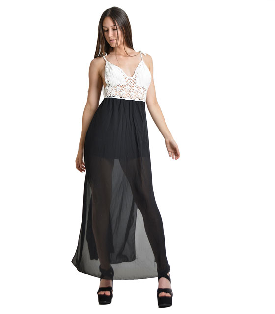 Μάξι φόρεμα με πλεκτό τοπ (Μαύρο)