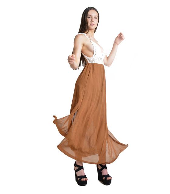 Μάξι φόρεμα με πλεκτό τοπ (Καφέ)