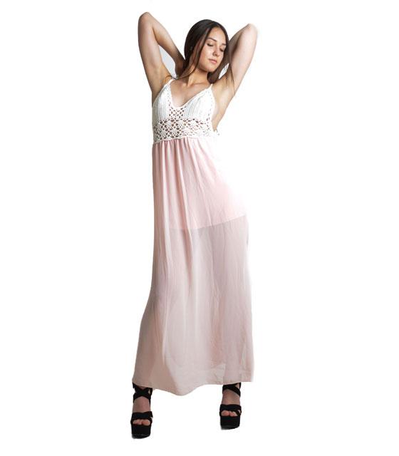 Μάξι φόρεμα με πλεκτό τοπ (Ροζ)
