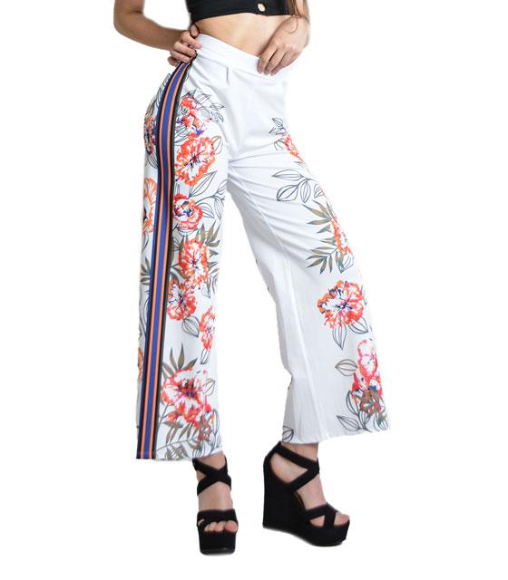 Ψηλόμεση παντελόνα φλοράλ με χρωματιστές λωρίδες (Λευκό)