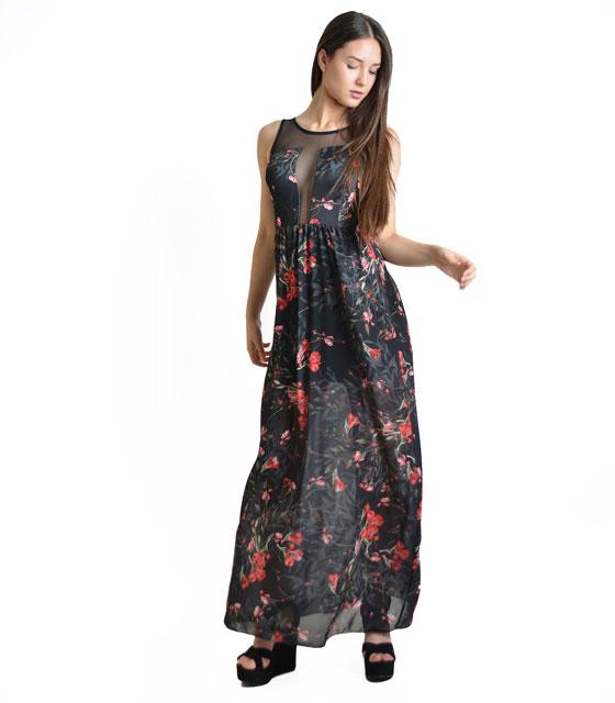 Μάξι φόρεμα φλοράλ με χιαστή στην πλάτη και διαφάνεια (Μαύρο)
