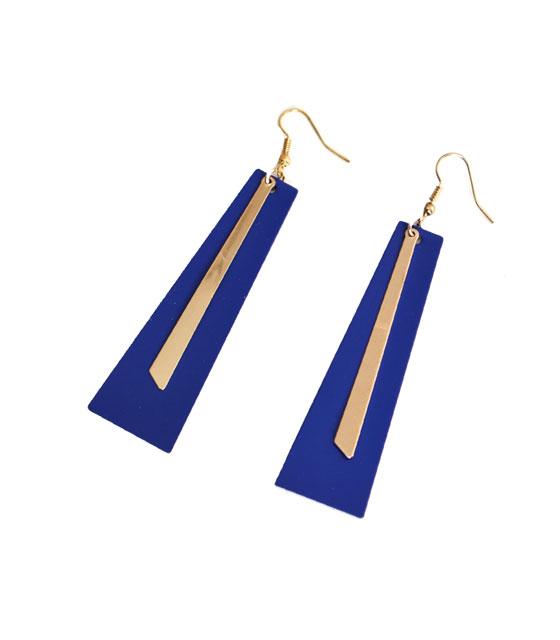 Σκουλαρίκια μπλε με χρυσές λεπτομέρειες