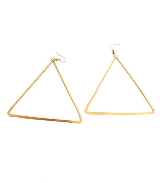Χρυσά τρίγωνα μεγάλα σκουλαρίκια