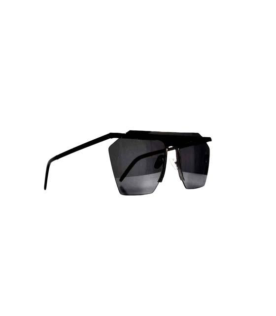 Γυαλιά ηλίου μάσκα με συρμάτινη λεπτομέρεια (All black)