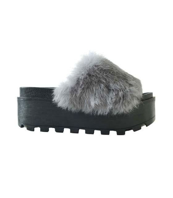 Παντόφλα με γουνάκι τρίπατη παπούτσια   παντόφλες