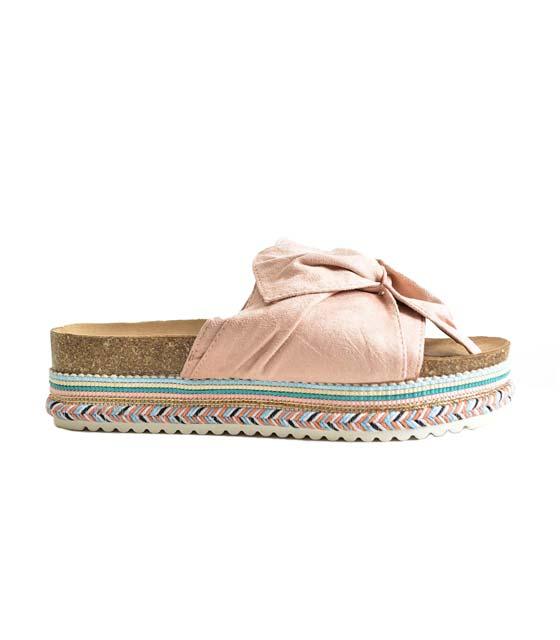 Σουέτ παντόφλα με κεντητές λεπτομέρειες (Ροζ) παπούτσια   παντόφλες