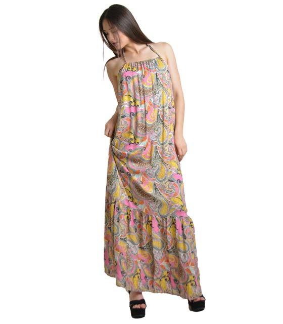 Μάξi φόρεμα δετό εμπριμέ