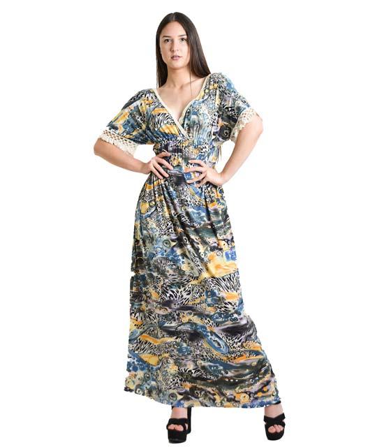 Μάξι φόρεμα εμπριμέ με δαντέλα στα μανίκια ρούχα   φορέματα