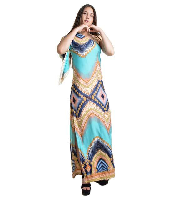 Φόρεμα μάξι με ανοιχτό ώμο εμπριμέ