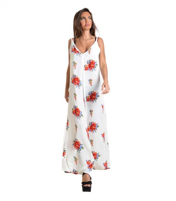 Ολόσωμη φόρμα φλοράλ με τιράντες (Λευκή)