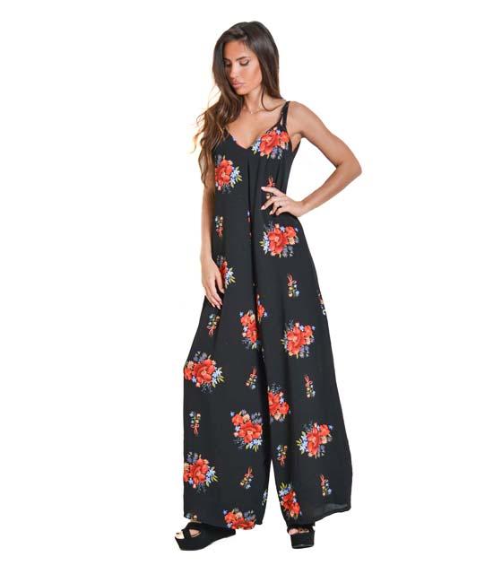 Ολόσωμη φόρμα φλοράλ με τιράντες (Μαύρο)