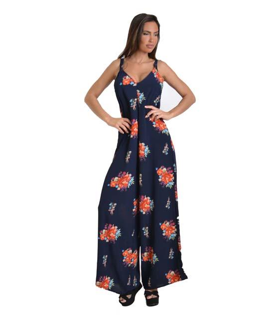 Ολόσωμη φόρμα φλοράλ με τιράντες (Μπλε)