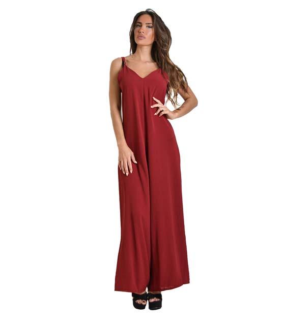 Ολόσωμη φόρμα με τιράντες (Μπορντό)