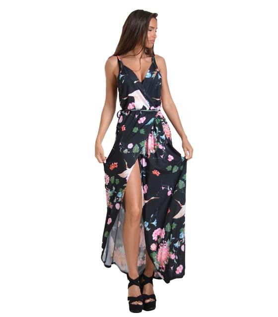 Μάξι φόρεμα φλοράλ με τιράντες και λεπτομέρεια δέσιμο (Μαύρο)