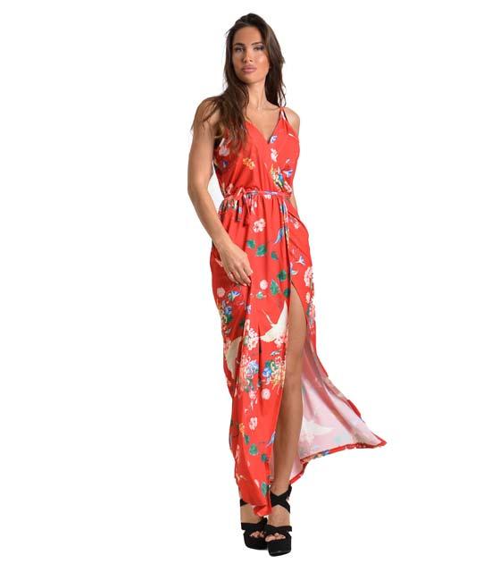 Μάξι φόρεμα φλοράλ με τιράντες και λεπτομέρεια δέσιμο (Κόκκινο)