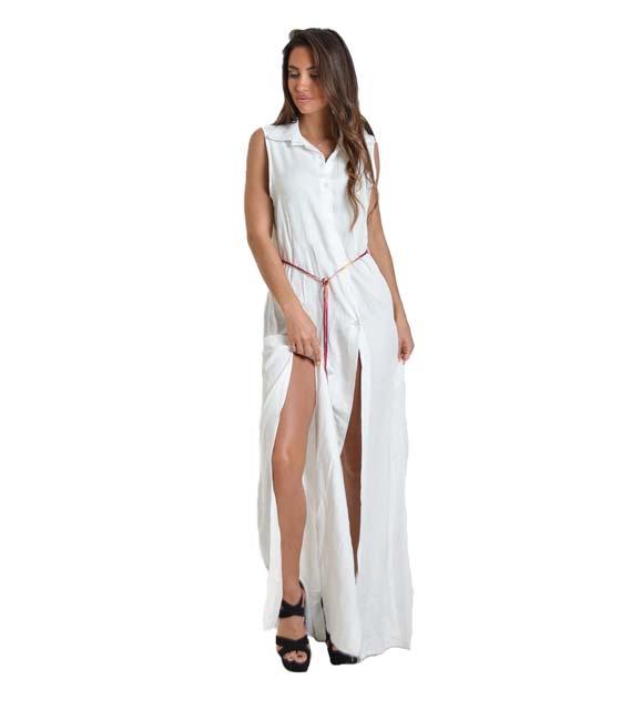 Μάξι φόρεμα με κουμπιά και άνοιγμα στο πλάι (Λευκό)
