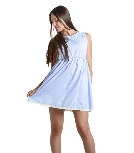 Ριγέ φόρεμα με δέσιμο στην πλάτη και λεπτομέρεια κέντημα (Μπλε)