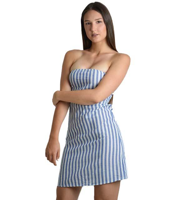 Ριγέ μίνι φόρεμα στράπλες με δέσιμο (Μπλε)