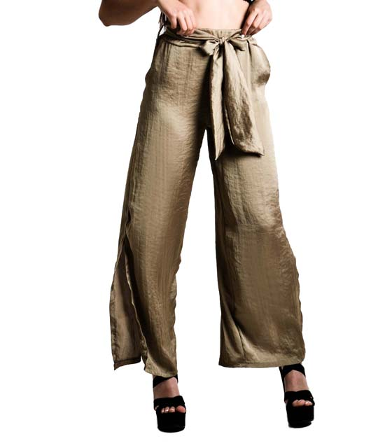 Παντελόνα με ζώνη και άνοιγμα στο πλάι (Χρυσό)