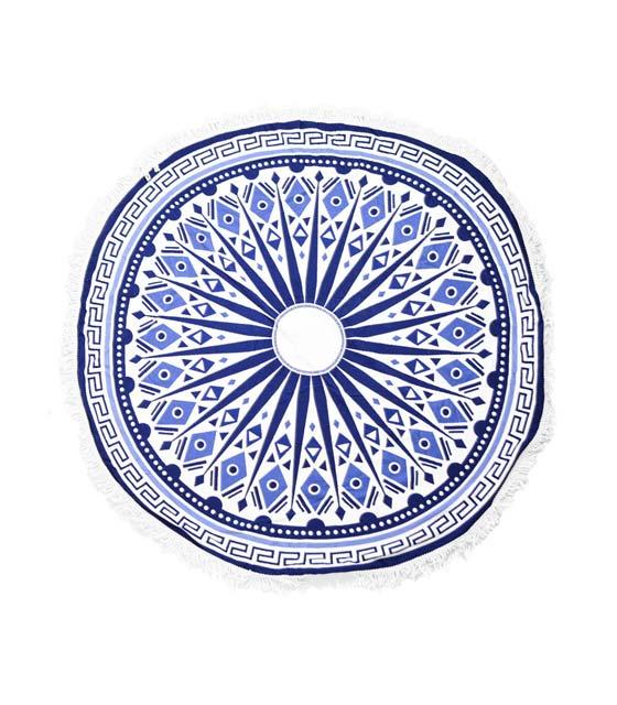 Πετσέτα στρόγγυλη με μπλε γεωμετρικά σχέδια