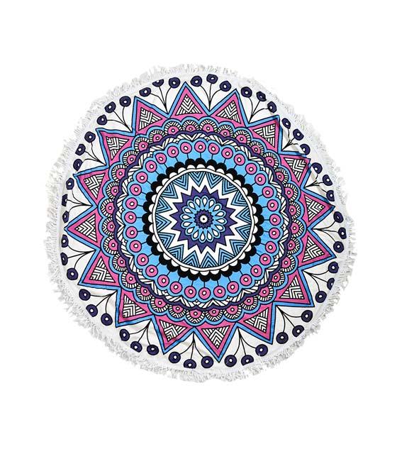 Πετσέτα στρόγγυλη με μπλε ροζ σχέδια