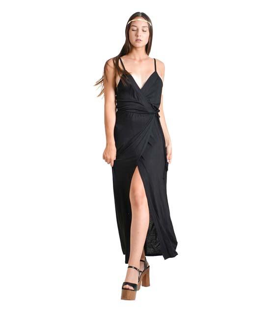 Μάξι φόρεμα με τιράντες και λεπτομέρεια δέσιμο (Μαύρο)