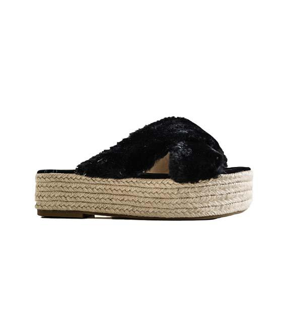 Χιαστή ψάθινη παντόφλα (Μαύρη) παπούτσια   παντόφλες