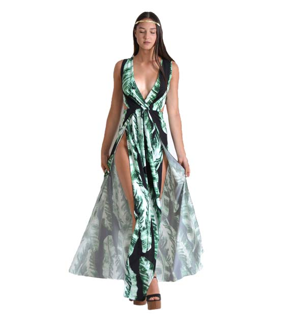 Μάξι φόρεμα με σχέδιο φύλλα και δέσιμο στην πλάτη (Μαύρο) ρούχα   φορέματα