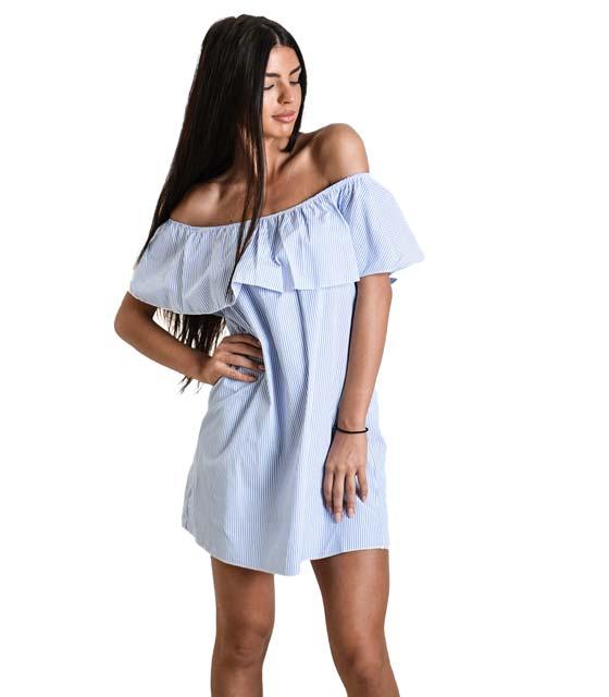 Μίνι φόρεμα ριγέ με βολάν (Μπλε)