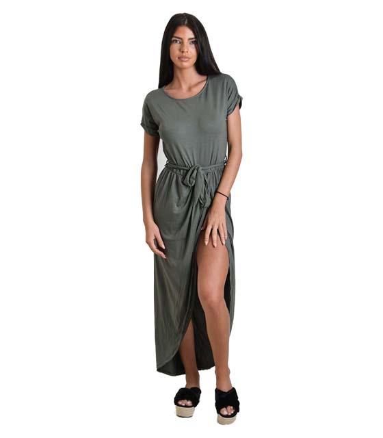 Ασσύμετρο φόρεμα με ζώνη (Χακί)